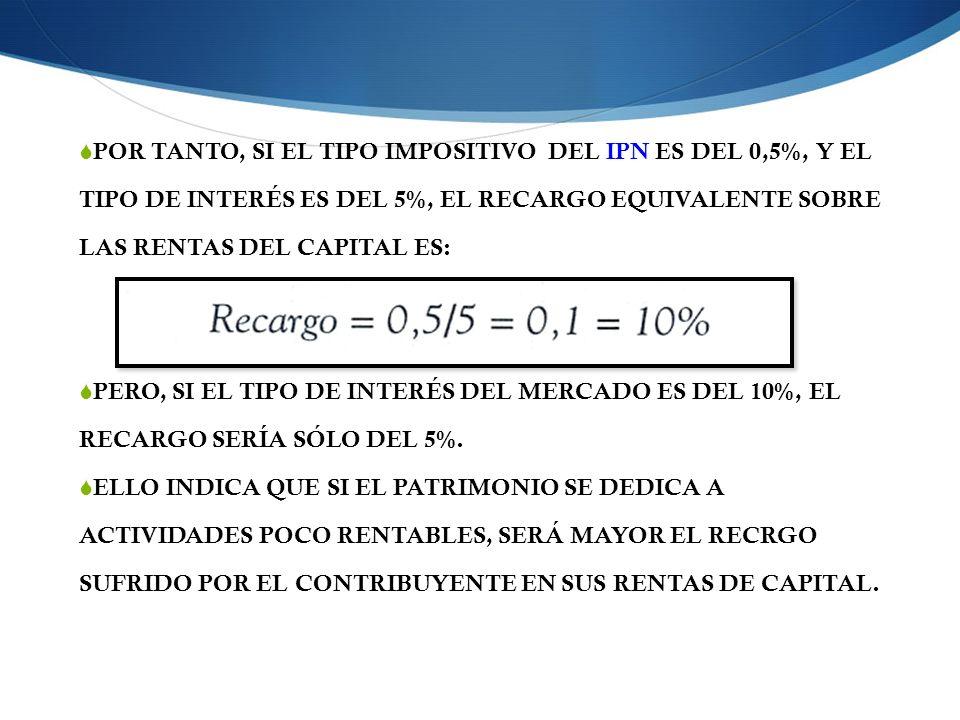 POR TANTO, SI EL TIPO IMPOSITIVO DEL IPN ES DEL 0,5%, Y EL TIPO DE INTERÉS ES DEL 5%, EL RECARGO EQUIVALENTE SOBRE LAS RENTAS DEL CAPITAL ES: PERO, SI