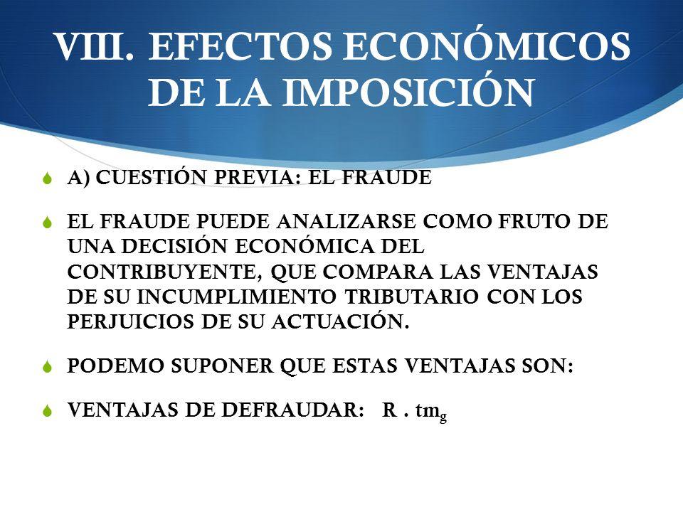 VIII. EFECTOS ECONÓMICOS DE LA IMPOSICIÓN A) CUESTIÓN PREVIA: EL FRAUDE EL FRAUDE PUEDE ANALIZARSE COMO FRUTO DE UNA DECISIÓN ECONÓMICA DEL CONTRIBUYE