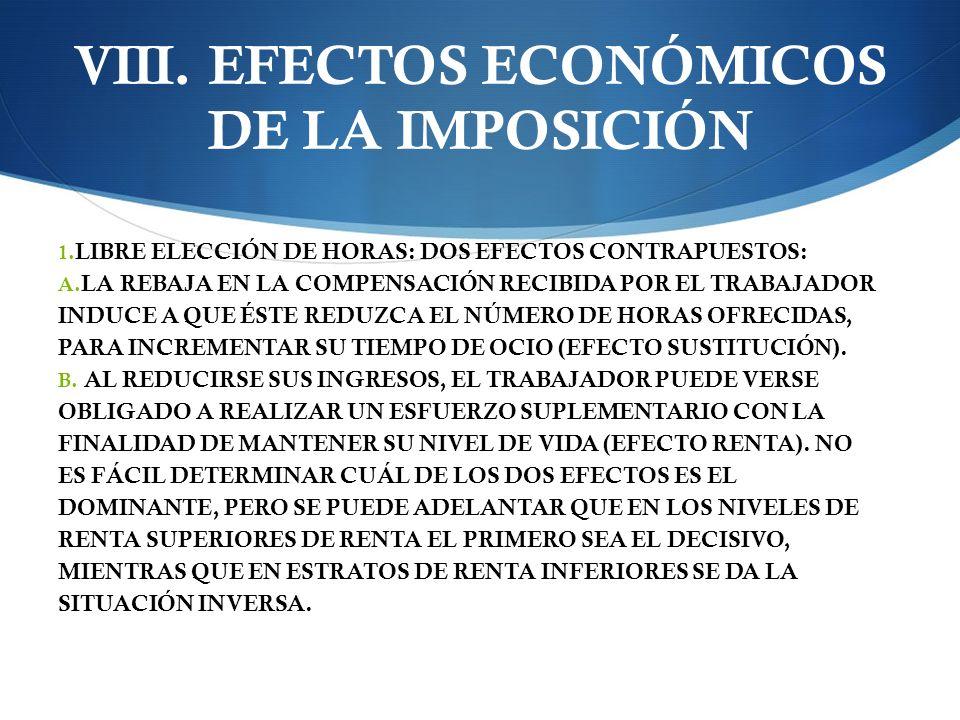 VIII.EFECTOS ECONÓMICOS DE LA IMPOSICIÓN 1. LIBRE ELECCIÓN DE HORAS: DOS EFECTOS CONTRAPUESTOS: A.