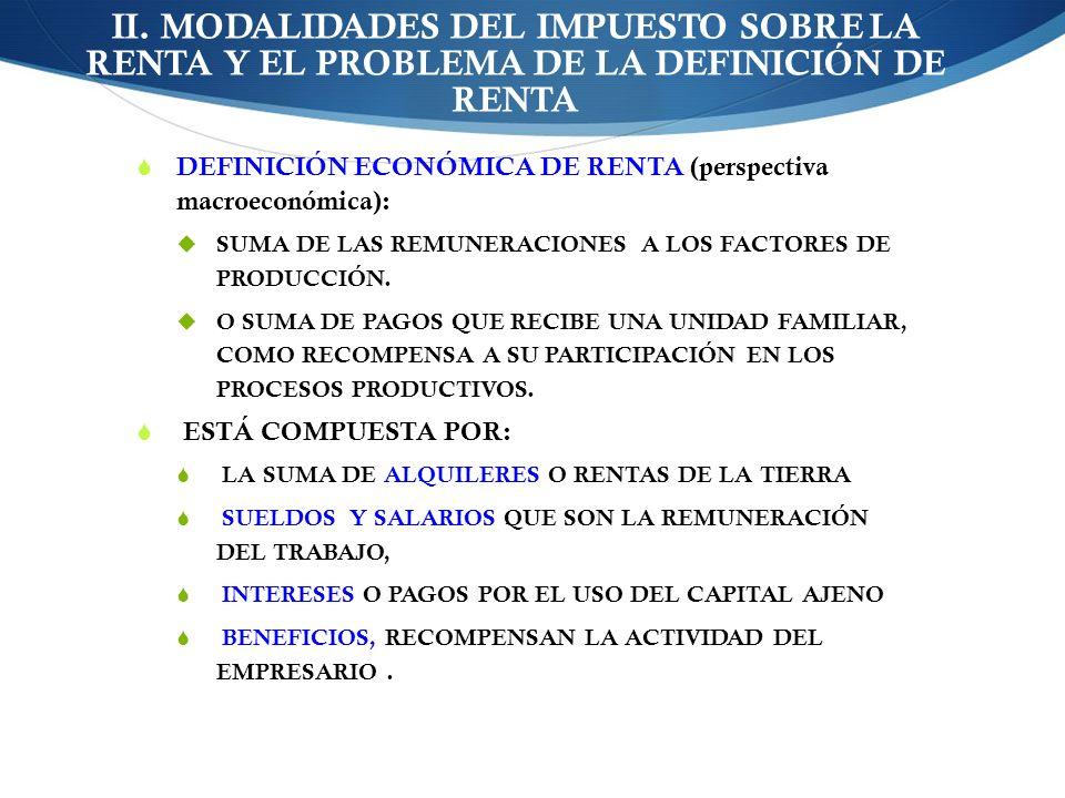 II. MODALIDADES DEL IMPUESTO SOBRE LA RENTA Y EL PROBLEMA DE LA DEFINICIÓN DE RENTA DEFINICIÓN ECONÓMICA DE RENTA (perspectiva macroeconómica): SUMA D