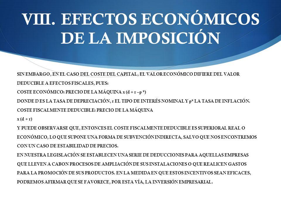 VIII. EFECTOS ECONÓMICOS DE LA IMPOSICIÓN SIN EMBARGO, EN EL CASO DEL COSTE DEL CAPITAL, EL VALOR ECONÓMICO DIFIERE DEL VALOR DEDUCIBLE A EFECTOS FISC