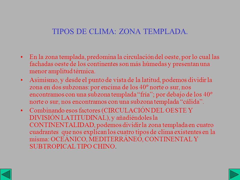 TIPOS DE CLIMA: ZONA TEMPLADA. En la zona templada, predomina la circulación del oeste, por lo cual las fachadas oeste de los continentes son más húme