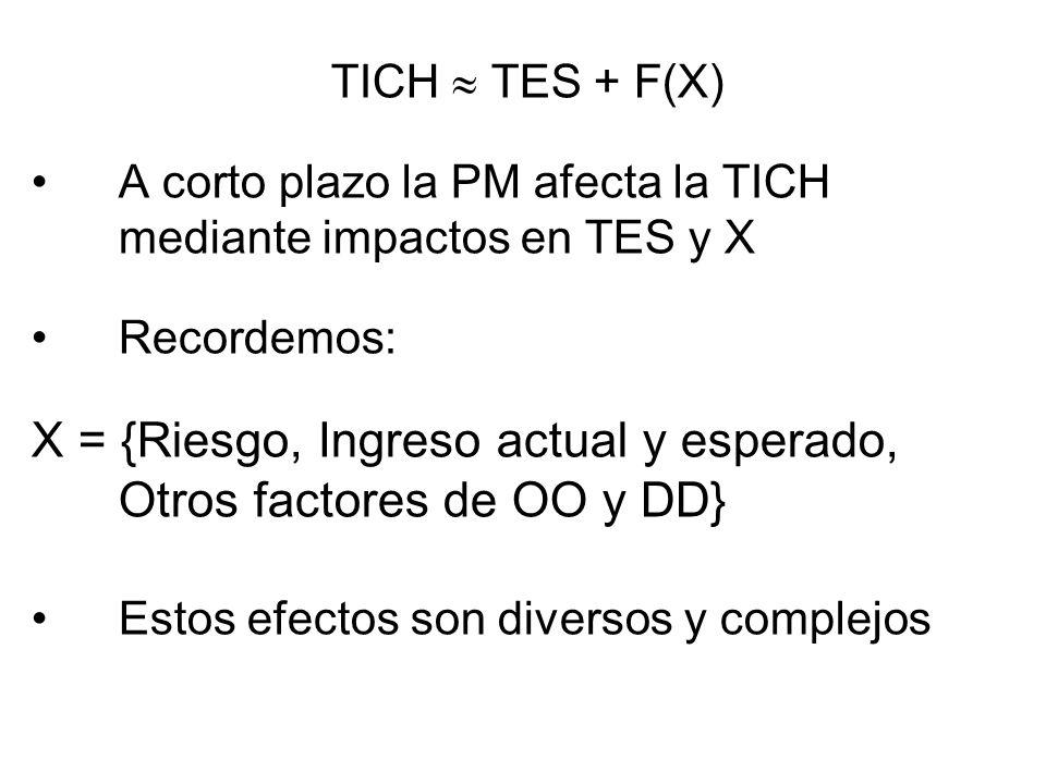 TICH TES + F(X) A corto plazo la PM afecta la TICH mediante impactos en TES y X Recordemos: X = {Riesgo, Ingreso actual y esperado, Otros factores de