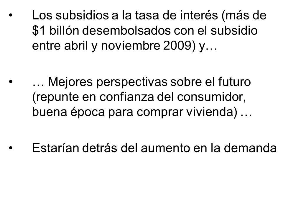 Los subsidios a la tasa de interés (más de $1 billón desembolsados con el subsidio entre abril y noviembre 2009) y… … Mejores perspectivas sobre el fu