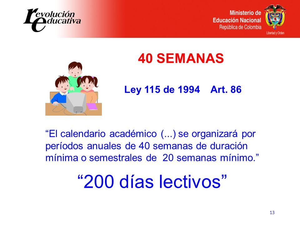 13 El calendario académico (...) se organizará por períodos anuales de 40 semanas de duración mínima o semestrales de 20 semanas mínimo. Ley 115 de 19