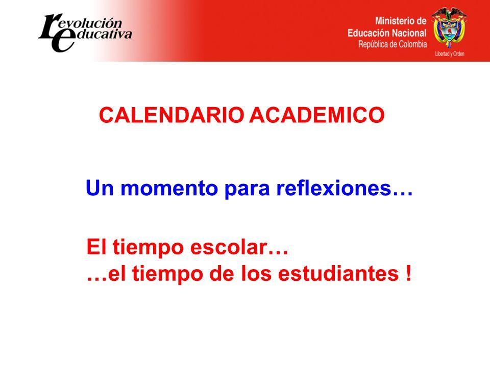 Un momento para reflexiones… CALENDARIO ACADEMICO El tiempo escolar… …el tiempo de los estudiantes !