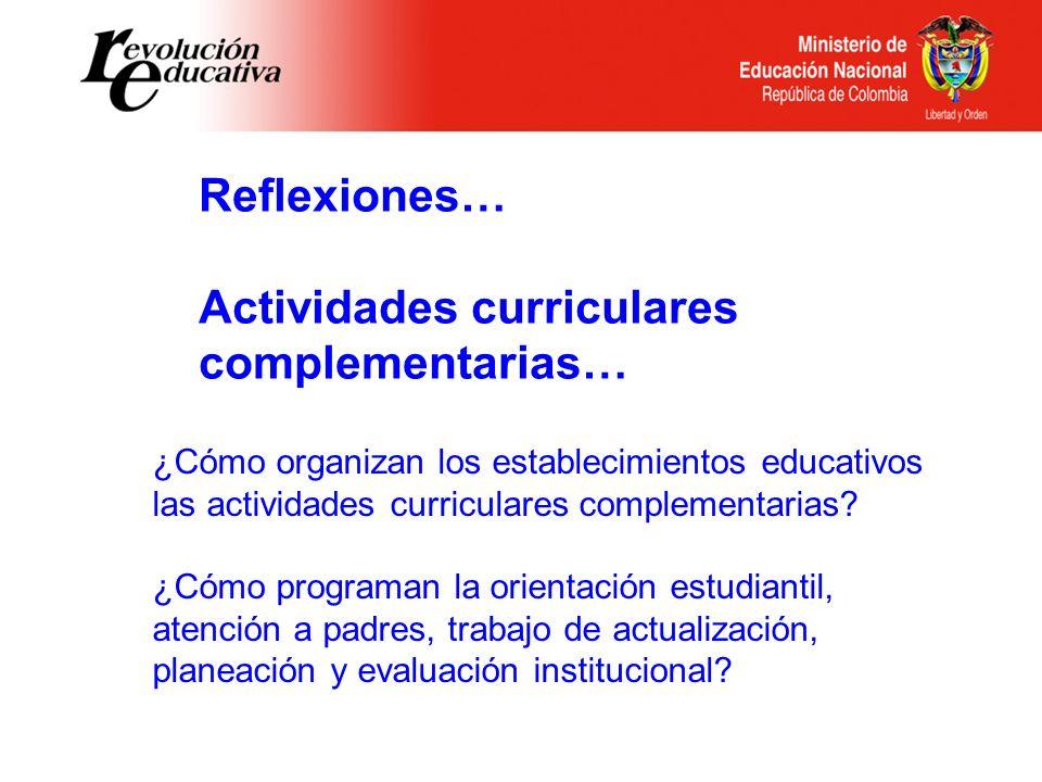 Reflexiones… Actividades curriculares complementarias… ¿Cómo organizan los establecimientos educativos las actividades curriculares complementarias? ¿