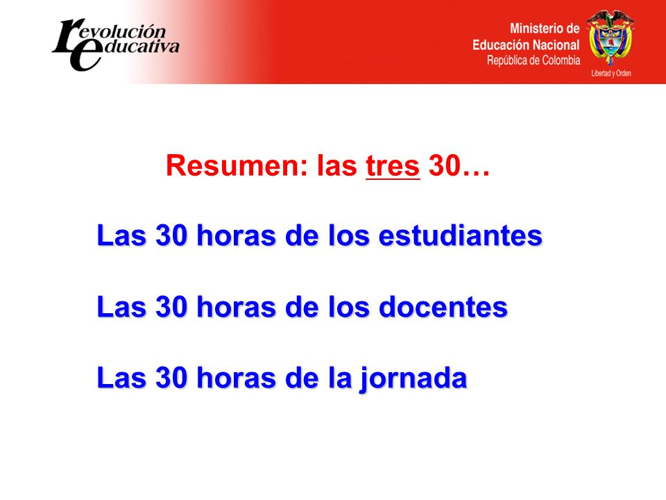 Las 30 horas de los estudiantes Las 30 horas de los docentes Las 30 horas de la jornada Resumen: las tres 30…