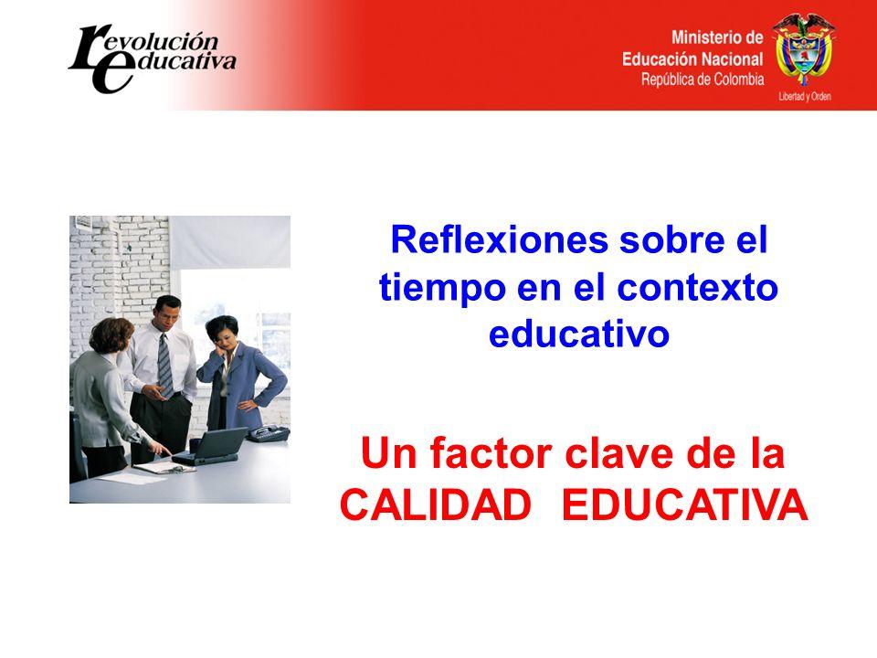 Reflexiones sobre el tiempo en el contexto educativo Un factor clave de la CALIDAD EDUCATIVA