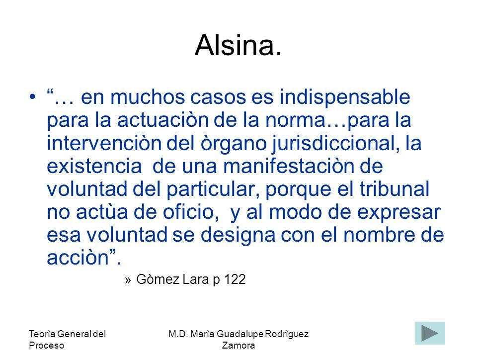 Teorìa General del Proceso M.D. Marìa Guadalupe Rodrìguez Zamora Alsina. … en muchos casos es indispensable para la actuaciòn de la norma…para la inte