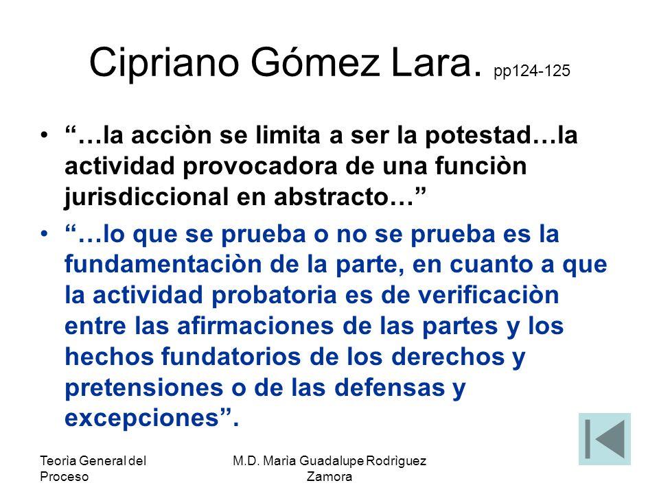 Teorìa General del Proceso M.D. Marìa Guadalupe Rodrìguez Zamora Cipriano Gómez Lara. pp124-125 …la acciòn se limita a ser la potestad…la actividad pr