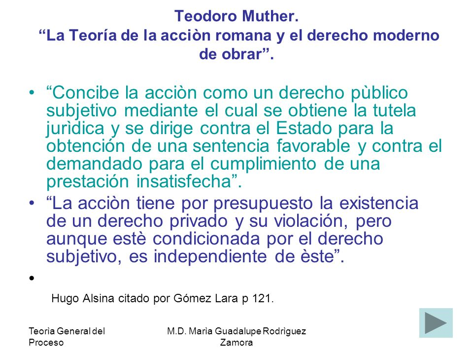 Teorìa General del Proceso M.D. Marìa Guadalupe Rodrìguez Zamora Teodoro Muther. La Teoría de la acciòn romana y el derecho moderno de obrar. Concibe