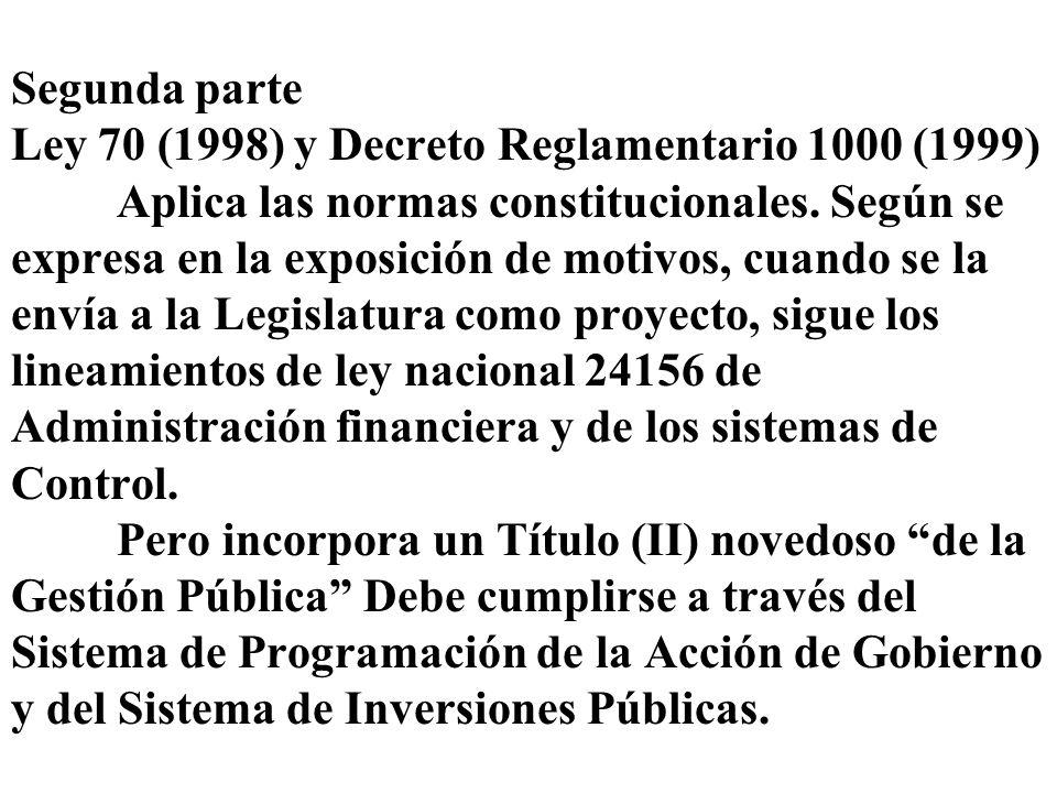 Segunda parte Ley 70 (1998) y Decreto Reglamentario 1000 (1999) Aplica las normas constitucionales. Según se expresa en la exposición de motivos, cuan