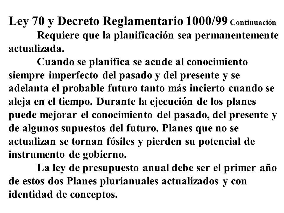Ley 70 y Decreto Reglamentario 1000/99 Continuación Requiere que la planificación sea permanentemente actualizada. Cuando se planifica se acude al con