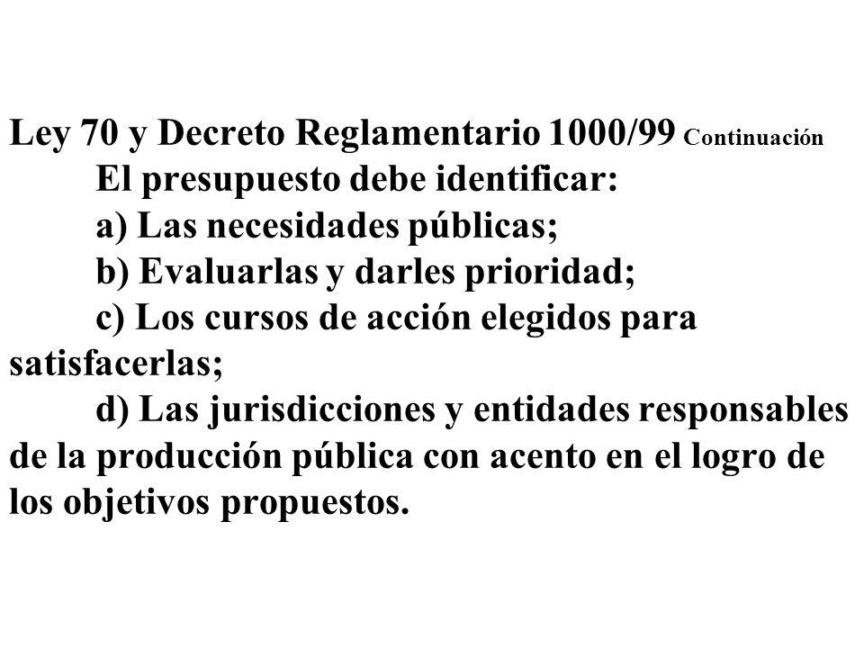 Ley 70 y Decreto Reglamentario 1000/99 Continuación El presupuesto debe identificar: a) Las necesidades públicas; b) Evaluarlas y darles prioridad; c)