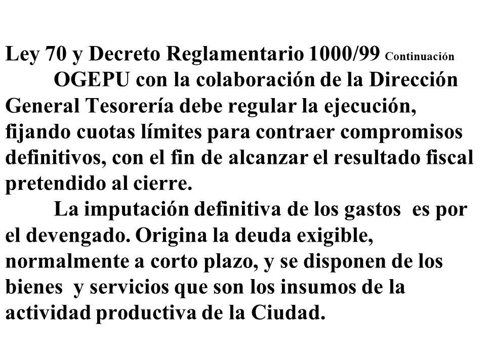 Ley 70 y Decreto Reglamentario 1000/99 Continuación OGEPU con la colaboración de la Dirección General Tesorería debe regular la ejecución, fijando cuo