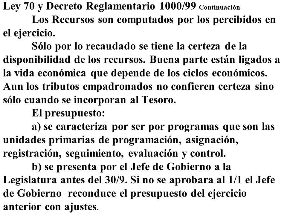 Ley 70 y Decreto Reglamentario 1000/99 Continuación Los Recursos son computados por los percibidos en el ejercicio. Sólo por lo recaudado se tiene la