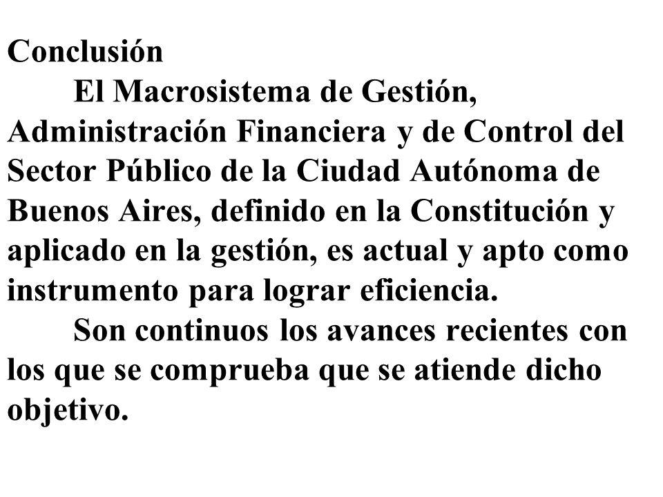 Conclusión El Macrosistema de Gestión, Administración Financiera y de Control del Sector Público de la Ciudad Autónoma de Buenos Aires, definido en la
