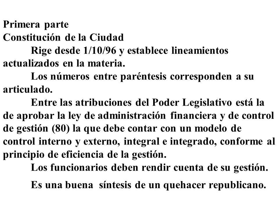 Primera parte Constitución de la Ciudad Rige desde 1/10/96 y establece lineamientos actualizados en la materia. Los números entre paréntesis correspon