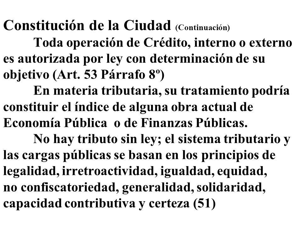 Constitución de la Ciudad (Continuación) Toda operación de Crédito, interno o externo es autorizada por ley con determinación de su objetivo (Art. 53