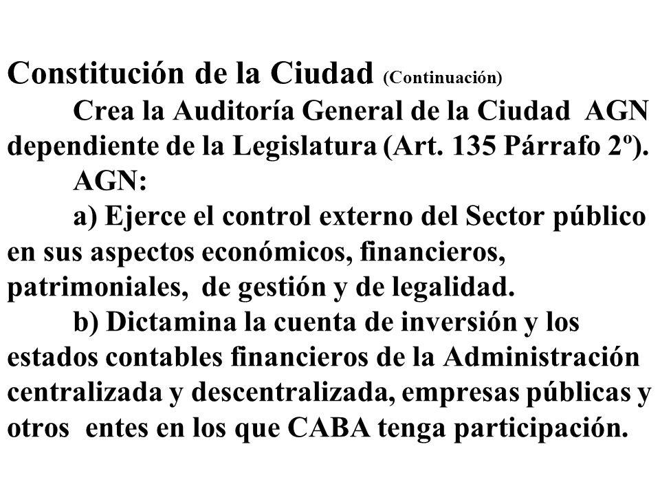 Constitución de la Ciudad (Continuación) Crea la Auditoría General de la Ciudad AGN dependiente de la Legislatura (Art. 135 Párrafo 2º). AGN: a) Ejerc