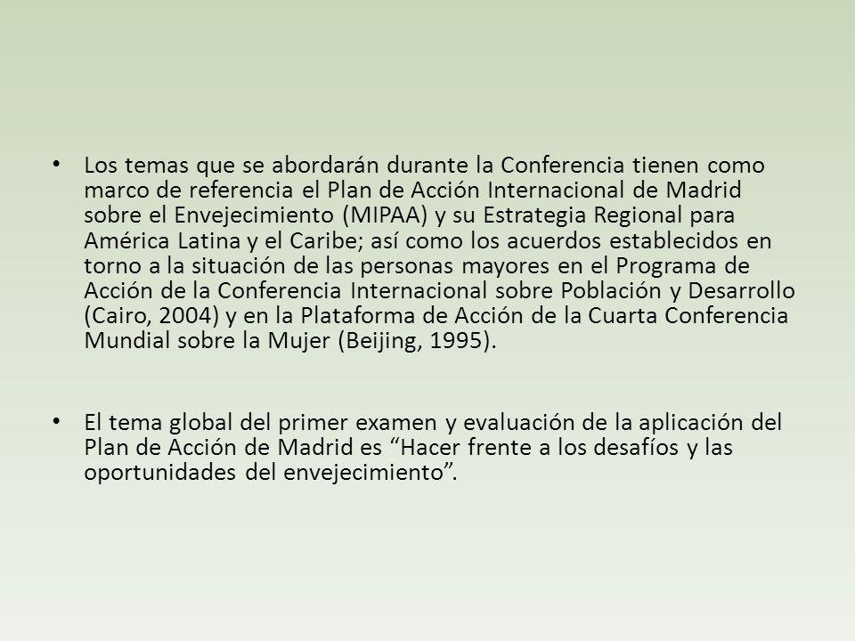 Los temas que se abordarán durante la Conferencia tienen como marco de referencia el Plan de Acción Internacional de Madrid sobre el Envejecimiento (M