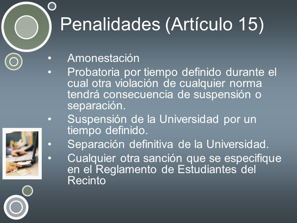 Penalidades (Artículo 15) Amonestación Probatoria por tiempo definido durante el cual otra violación de cualquier norma tendrá consecuencia de suspens