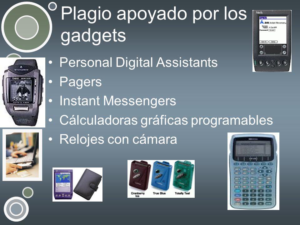 Plagio apoyado por los gadgets Personal Digital Assistants Pagers Instant Messengers Cálculadoras gráficas programables Relojes con cámara