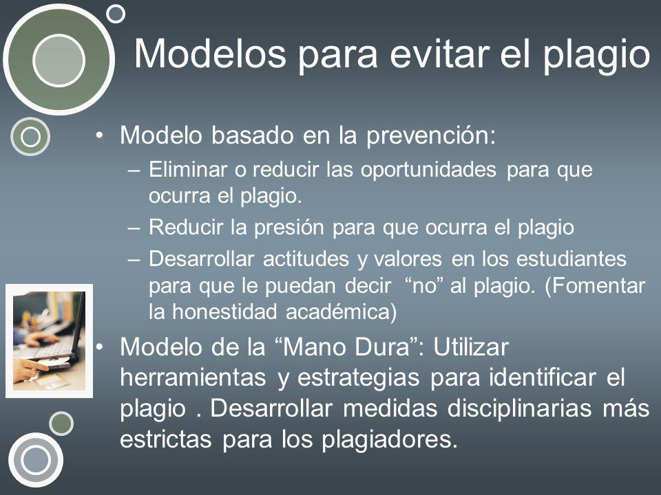 Modelos para evitar el plagio Modelo basado en la prevención: –Eliminar o reducir las oportunidades para que ocurra el plagio. –Reducir la presión par