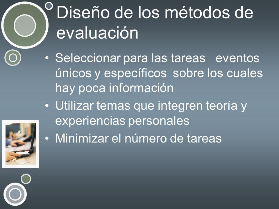 Diseño de los métodos de evaluación Seleccionar para las tareas eventos únicos y específicos sobre los cuales hay poca información Utilizar temas que