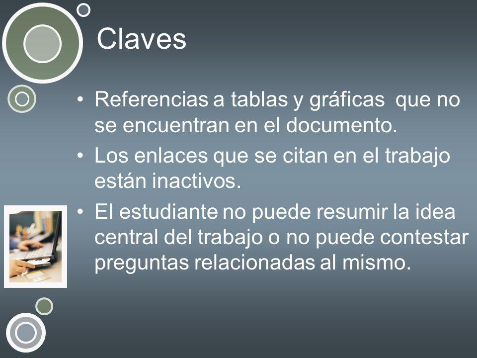 Claves Referencias a tablas y gráficas que no se encuentran en el documento. Los enlaces que se citan en el trabajo están inactivos. El estudiante no