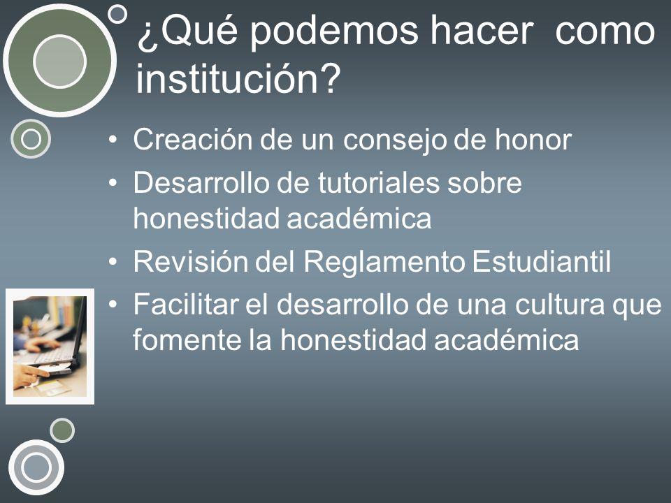 ¿Qué podemos hacer como institución? Creación de un consejo de honor Desarrollo de tutoriales sobre honestidad académica Revisión del Reglamento Estud