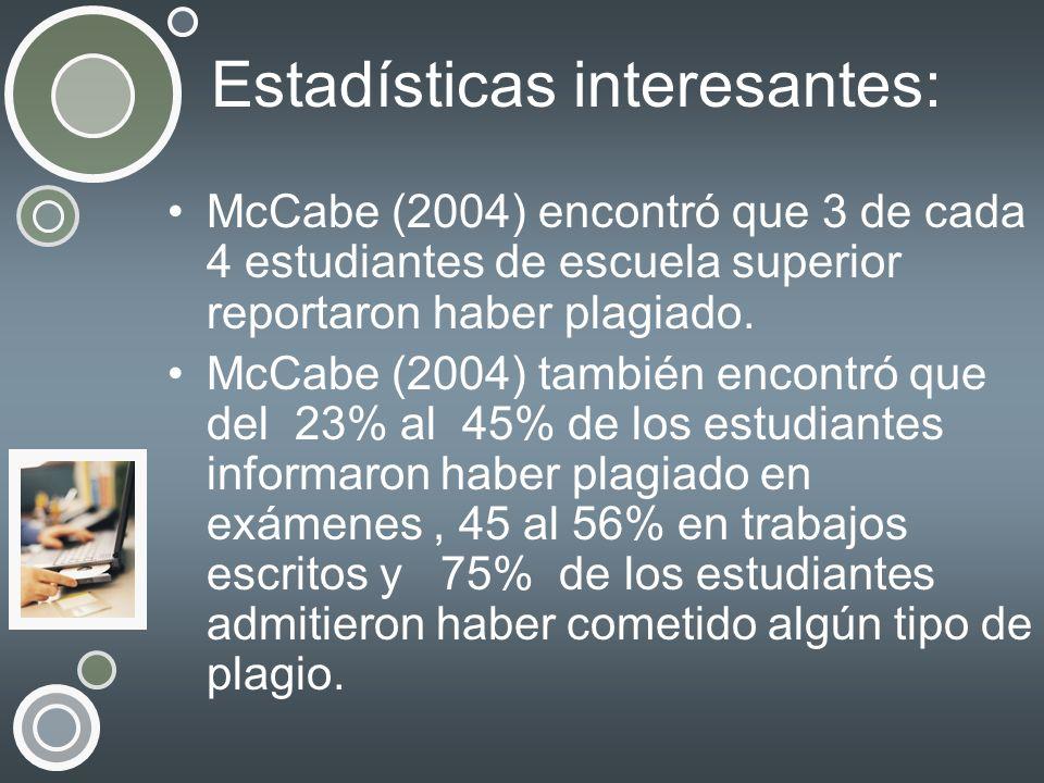 Estadísticas interesantes: McCabe (2004) encontró que 3 de cada 4 estudiantes de escuela superior reportaron haber plagiado. McCabe (2004) también enc