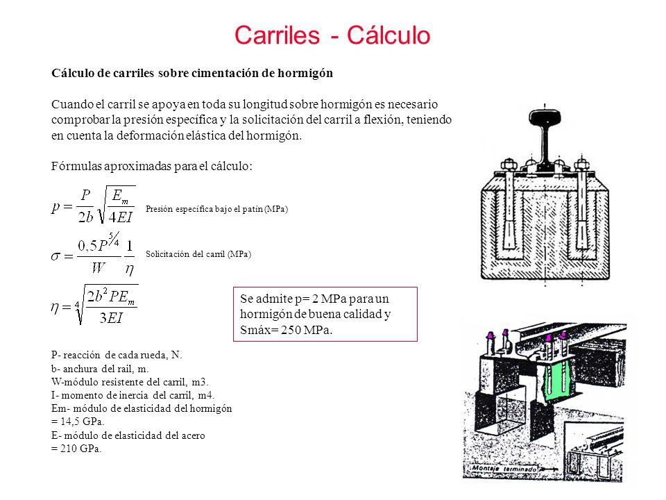 Carriles - Cálculo Se admite p= 2 MPa para un hormigón de buena calidad y Smáx= 250 MPa. Cálculo de carriles sobre cimentación de hormigón Cuando el c