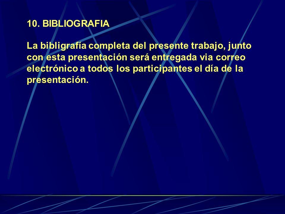 10. BIBLIOGRAFIA La bibligrafía completa del presente trabajo, junto con esta presentación será entregada via correo electrónico a todos los participa
