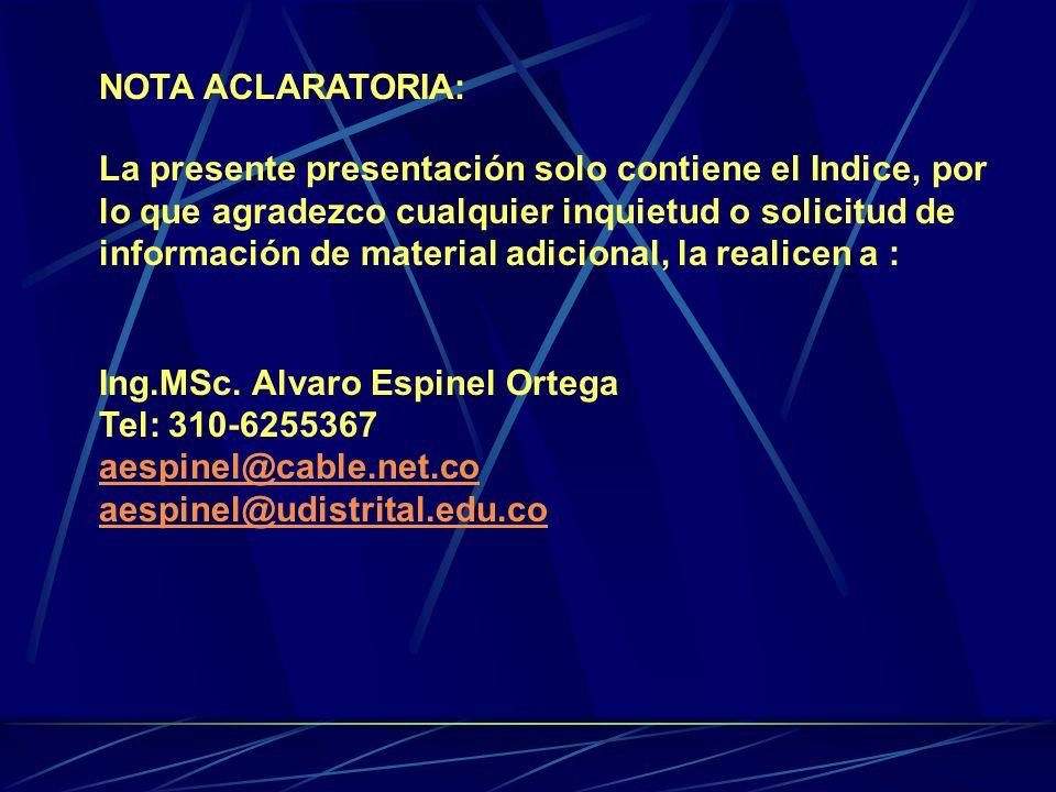 NOTA ACLARATORIA: La presente presentación solo contiene el Indice, por lo que agradezco cualquier inquietud o solicitud de información de material adicional, la realicen a : Ing.MSc.