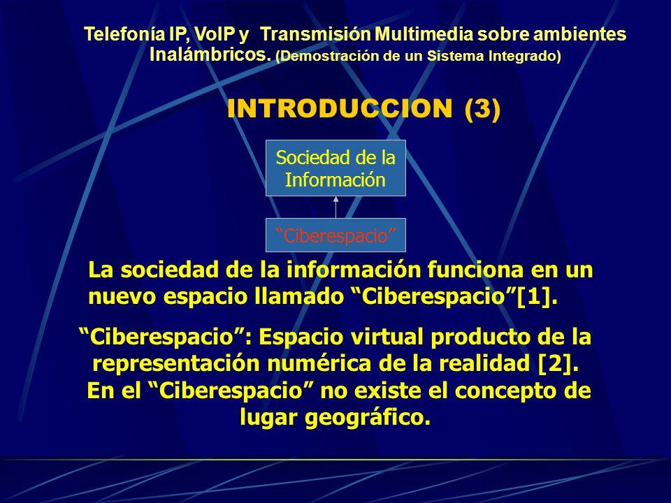INTRODUCCION (3) Ciberespacio Sociedad de la Información La sociedad de la información funciona en un nuevo espacio llamado Ciberespacio[1].