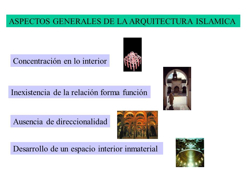 ASPECTOS GENERALES DE LA ARQUITECTURA ISLAMICA Concentración en lo interior Inexistencia de la relación forma función Ausencia de direccionalidad Desa