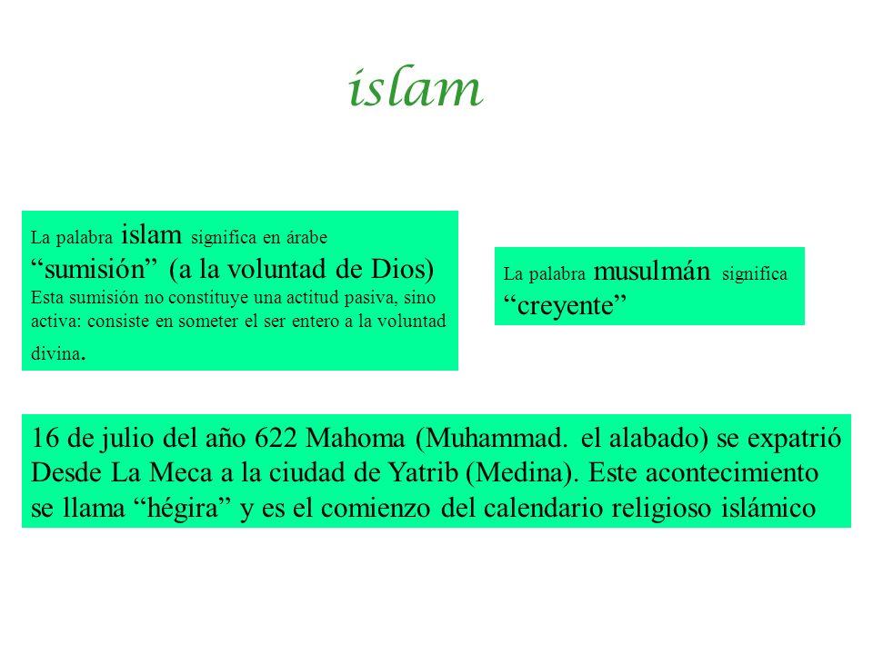 islam La palabra islam significa en árabe sumisión (a la voluntad de Dios) Esta sumisión no constituye una actitud pasiva, sino activa: consiste en so