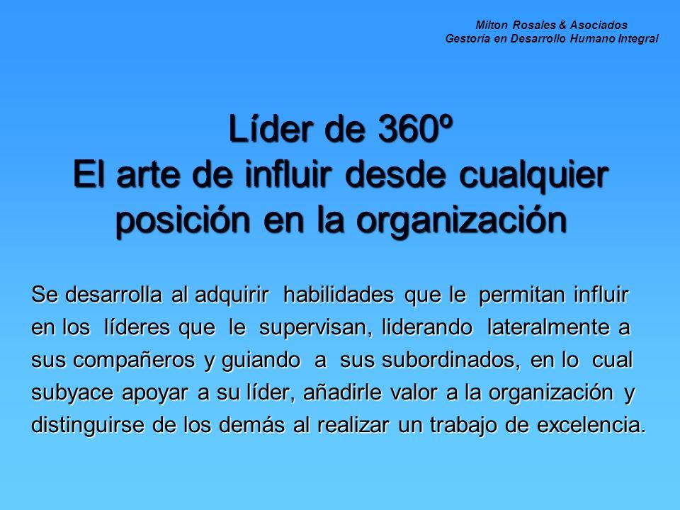 Líder de 360º El arte de influir desde cualquier posición en la organización Se desarrolla al adquirir habilidades que le permitan influir en los líde