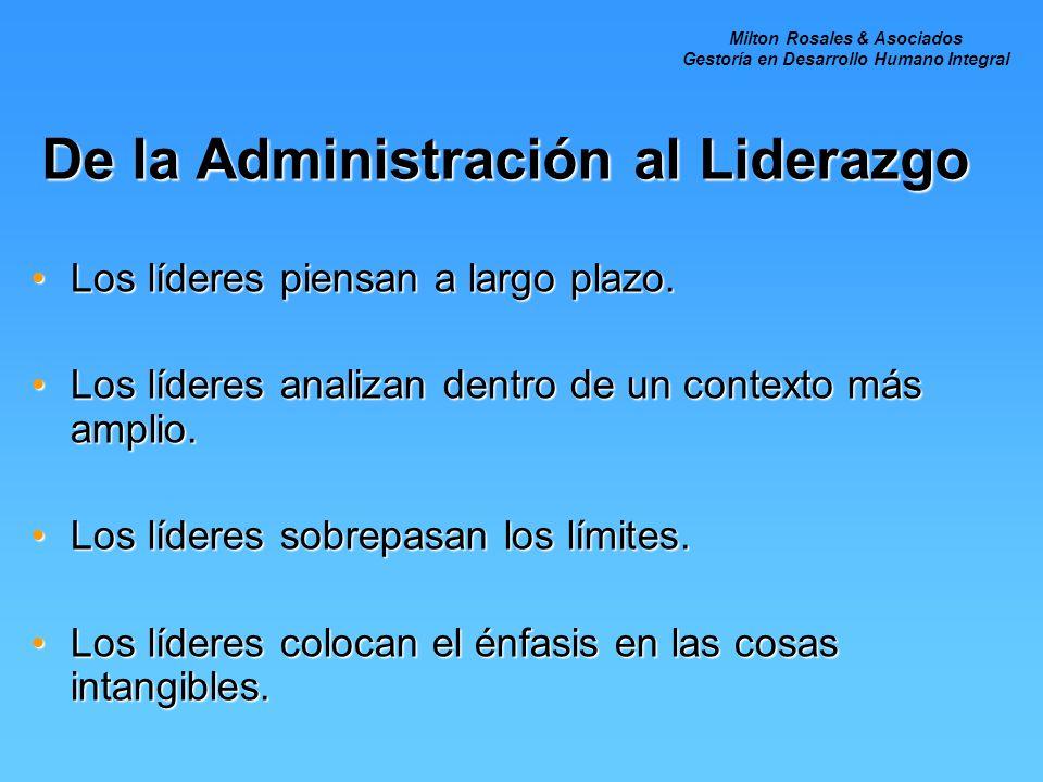 De la Administración al Liderazgo Los líderes piensan a largo plazo.Los líderes piensan a largo plazo. Los líderes analizan dentro de un contexto más