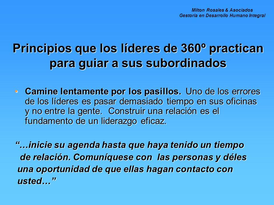 Principios que los líderes de 360º practican para guiar a sus subordinados Camine lentamente por los pasillos. Uno de los errores de los líderes es pa