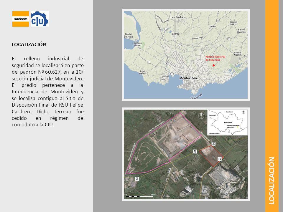 LOCALIZACIÓN El relleno industrial de seguridad se localizará en parte del padrón Nº 60.627, en la 10ª sección judicial de Montevideo. El predio perte