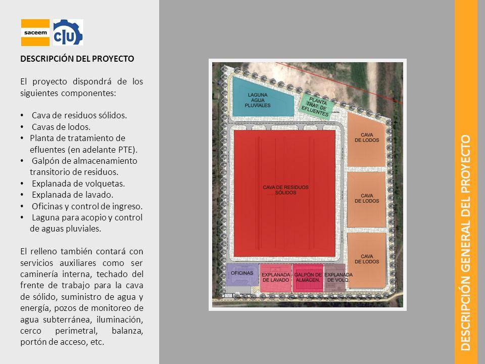 DESCRIPCIÓN DEL PROYECTO El proyecto dispondrá de los siguientes componentes: Cava de residuos sólidos. Cavas de lodos. Planta de tratamiento de eflue