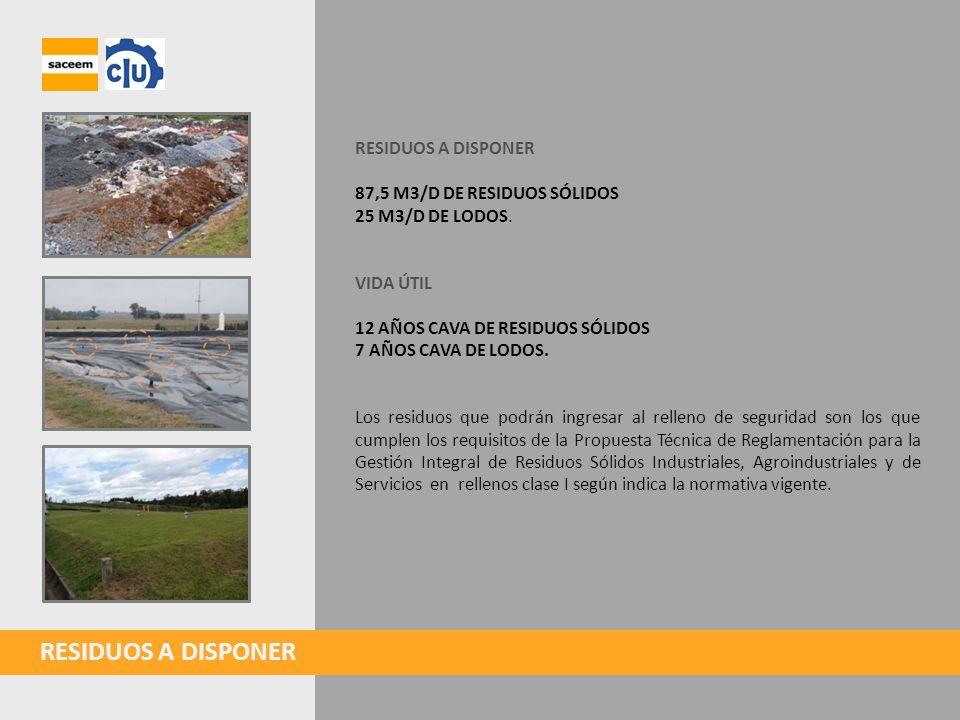 CAVA DE RESIDUOS SÓLIDOS Se construirá una cava de residuos sólidos con sección bitrapezoidal y de 7 a 10 m altura útil promedio.