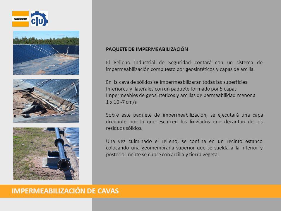 IMPERMEABILIZACIÓN DE CAVAS PAQUETE DE IMPERMEABILIZACIÓN El Relleno Industrial de Seguridad contará con un sistema de impermeabilización compuesto po
