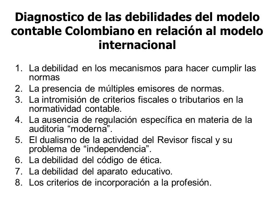 Diagnostico de las debilidades del modelo contable Colombiano en relación al modelo internacional 1.La debilidad en los mecanismos para hacer cumplir