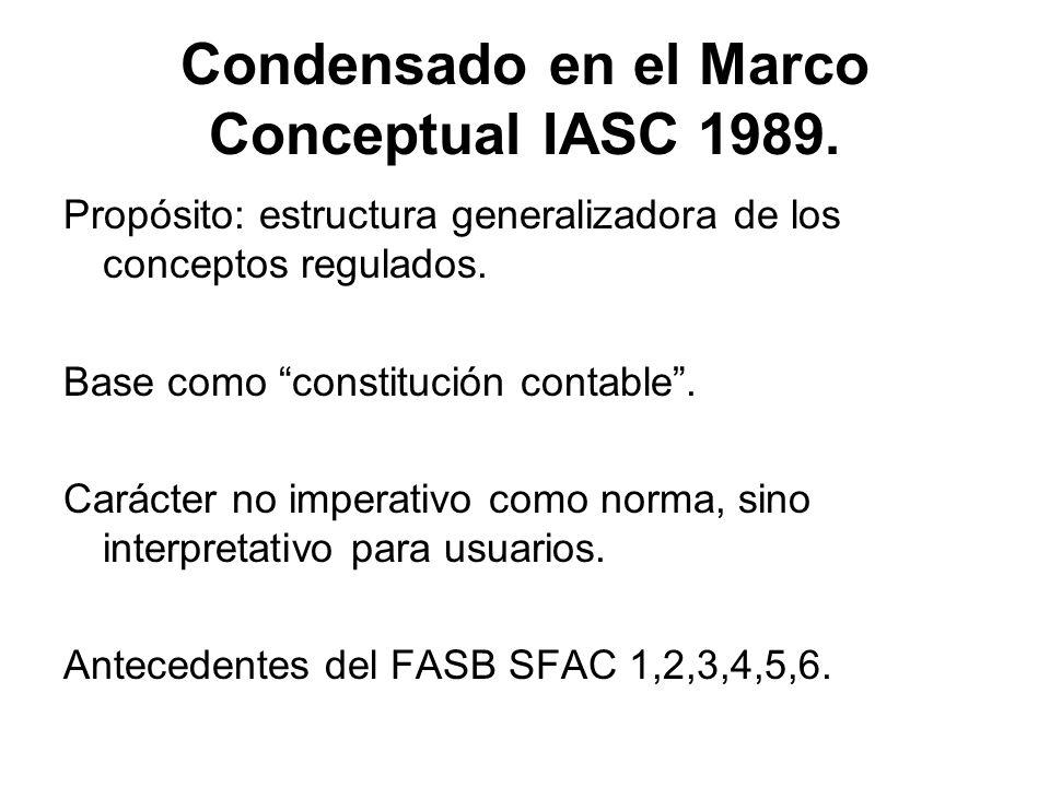 Condensado en el Marco Conceptual IASC 1989. Propósito: estructura generalizadora de los conceptos regulados. Base como constitución contable. Carácte