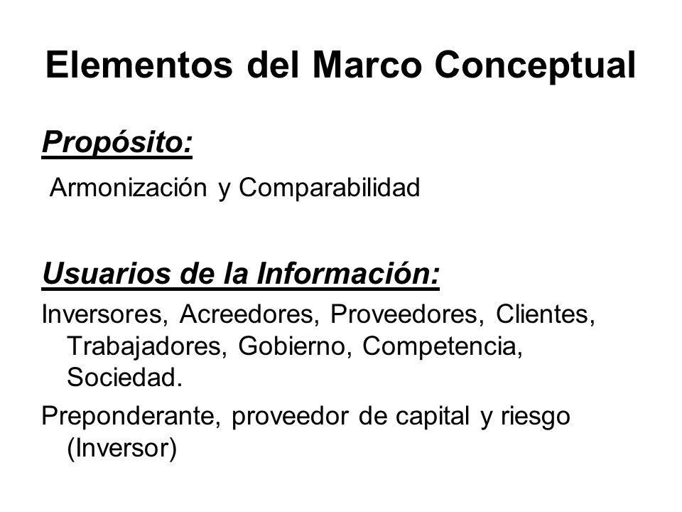 Elementos del Marco Conceptual Propósito: Armonización y Comparabilidad Usuarios de la Información: Inversores, Acreedores, Proveedores, Clientes, Tra