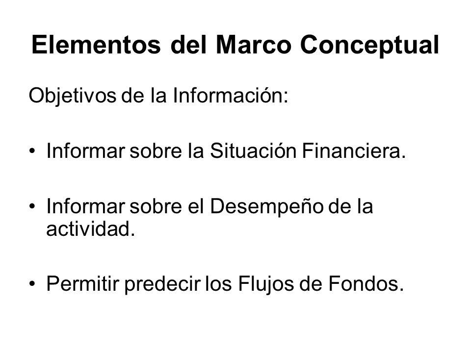 Elementos del Marco Conceptual Objetivos de la Información: Informar sobre la Situación Financiera. Informar sobre el Desempeño de la actividad. Permi